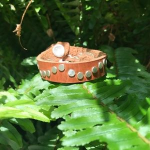 CB leather cuff with Sterling silver pieces